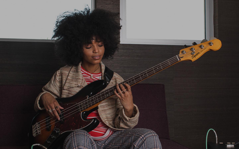 girl playing bass